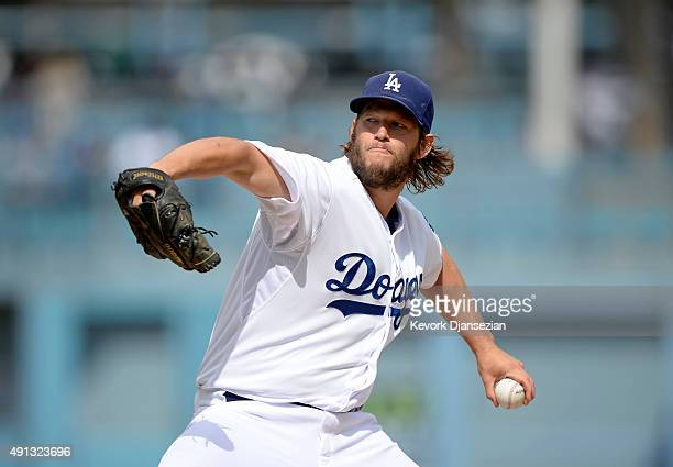 Pitcher Clayton Kershaw of the Los Angeles Dodgers throws a pitch against the San Diego Padres in the first inning at Dodger Stadium October 4 in Los...