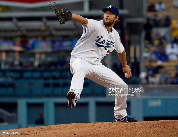 Pitcher Clayton Kershaw of the Los Angeles Dodgers throws against the Miami Marlins during the first inning of a baseball game at Dodger Stadium on...
