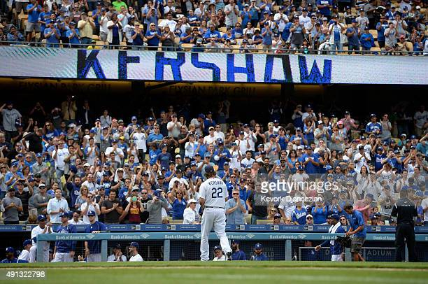 Pitcher Clayton Kershaw of the Los Angeles Dodgers walks off the field after getting relieved in the fourth inning against the San Diego Padres at...
