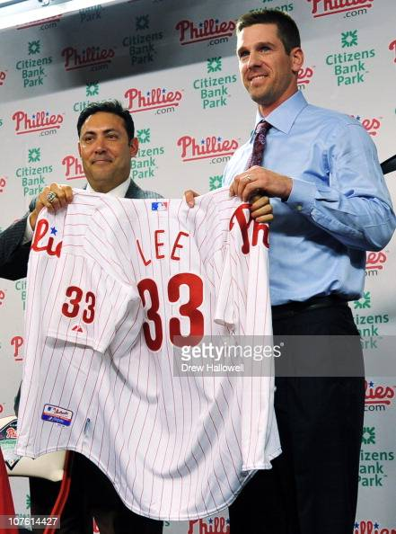 Pitcher Cliff Lee of the Philadelphia Phillies is introduced to the media and presented his jersey by the Philadelphia Phillies general manager Ruben...