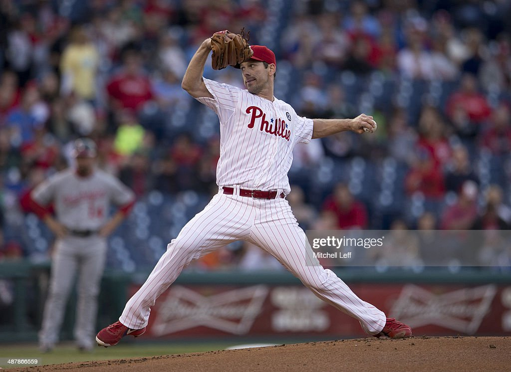 Pitcher Cliff Lee #33 of the Philadelphia Phillies throws a pitch in the first inning against the Washington Nationals on May 2, 2014 at Citizens Bank Park in Philadelphia, Pennsylvania.
