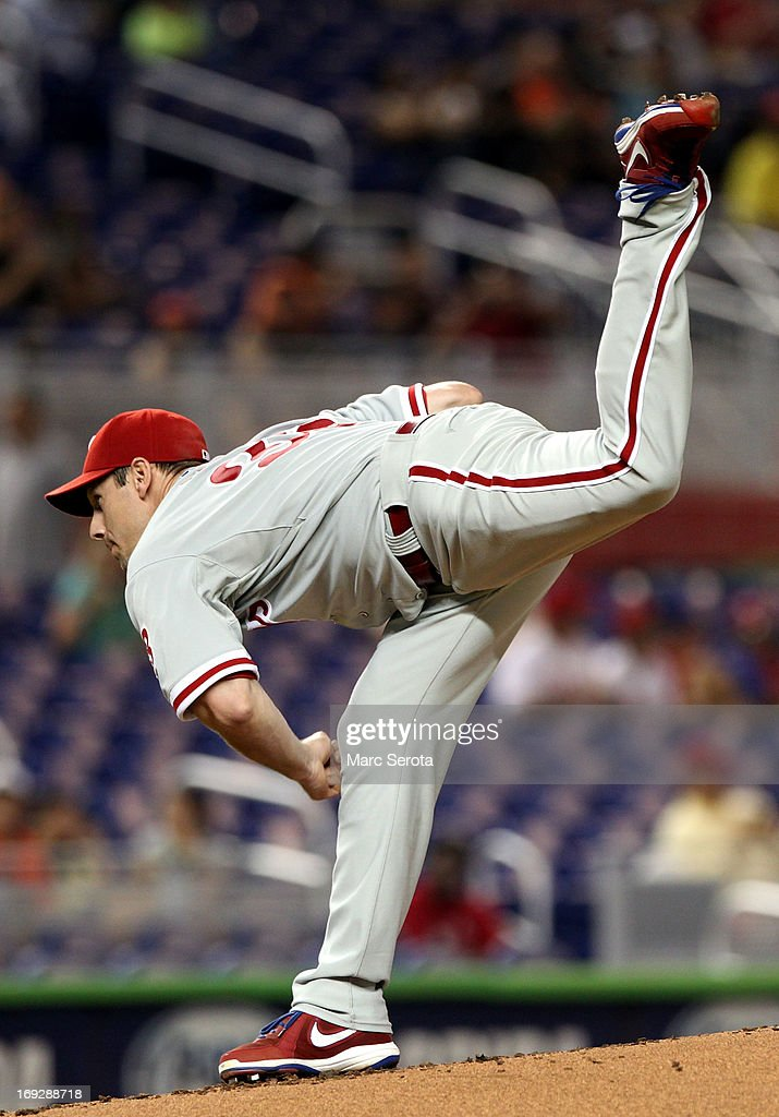 Pitcher <a gi-track='captionPersonalityLinkClicked' href=/galleries/search?phrase=Cliff+Lee&family=editorial&specificpeople=218092 ng-click='$event.stopPropagation()'>Cliff Lee</a> #33 of the Philadelphia Phillies throws in the second inning against the Miami Marlins at Marlins Park on May 22, 2013 in Miami, Florida.