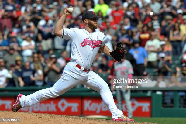 Pitcher Cody Allen of the Cleveland Indians throws a pitch during a game against the Kansas City Royals on May 8 2016 at Progressive Field in...