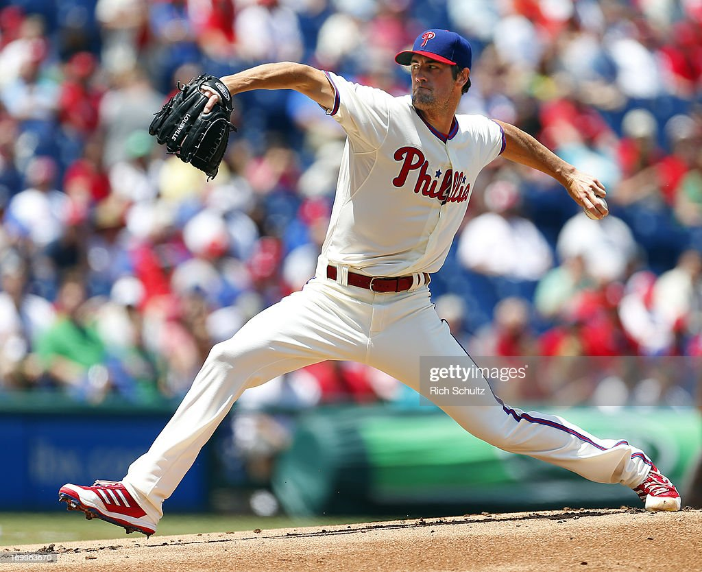 Pitcher <a gi-track='captionPersonalityLinkClicked' href=/galleries/search?phrase=Cole+Hamels&family=editorial&specificpeople=565675 ng-click='$event.stopPropagation()'>Cole Hamels</a> #35 of the Philadelphia Phillies delivers a pitch against the Miami Marlins on June 5, 2013 at Citizens Bank Park in Philadelphia, Pennsylvania.