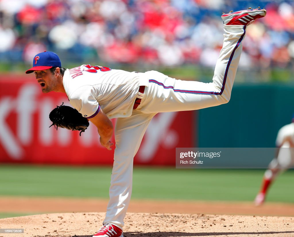 Pitcher <a gi-track='captionPersonalityLinkClicked' href=/galleries/search?phrase=Cole+Hamels&family=editorial&specificpeople=565675 ng-click='$event.stopPropagation()'>Cole Hamels</a> #35 of the Philadelphia Phillies delivers a pitch against the Miami Marlins on June 5, 2013 at Citizens Bank Park in Philadelphia, Pennsylvania. The Phillies defeated the Marlins 6-1.