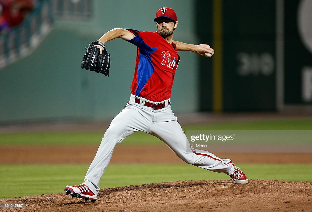 Pitcher <a gi-track='captionPersonalityLinkClicked' href=/galleries/search?phrase=Cole+Hamels&family=editorial&specificpeople=565675 ng-click='$event.stopPropagation()'>Cole Hamels</a> #35 of the Philadelphia Phillies pitches against the Boston Red Sox during a Grapefruit League Spring Training Game at JetBlue Park on March 21, 2013 in Fort Myers, Florida.