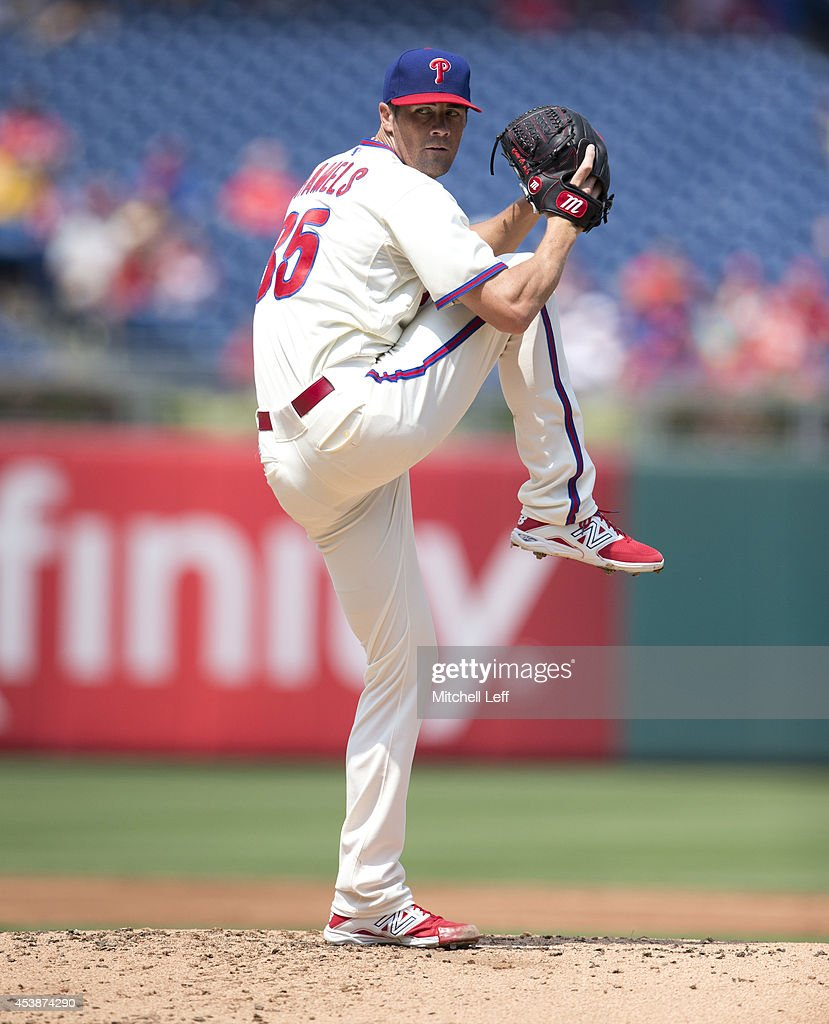 Pitcher <a gi-track='captionPersonalityLinkClicked' href=/galleries/search?phrase=Cole+Hamels&family=editorial&specificpeople=565675 ng-click='$event.stopPropagation()'>Cole Hamels</a> #35 of the Philadelphia Phillies throws a pitch in the top of the second inning against the Seattle Mariners on August 20, 2014 at Citizens Bank Park in Philadelphia, Pennsylvania.