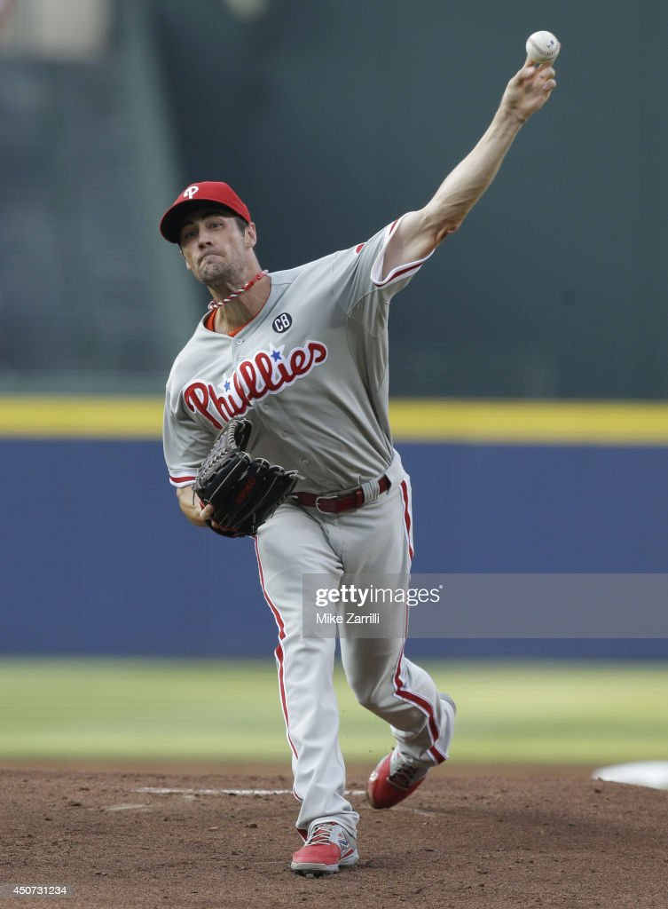 Pitcher Cole Hamels #35 of the Philadelphia Phillies throws a pitch during the game against the Atlanta Braves at Turner Field on June 16, 2014 in Atlanta, Georgia.