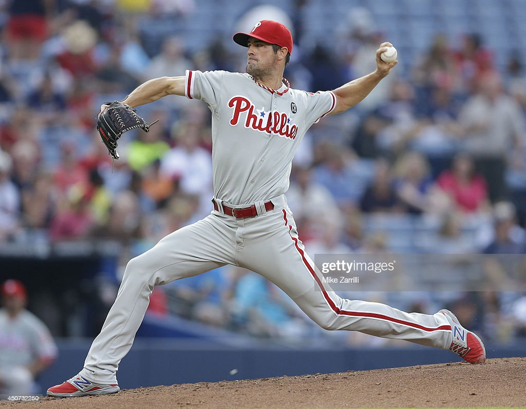 Pitcher <a gi-track='captionPersonalityLinkClicked' href=/galleries/search?phrase=Cole+Hamels&family=editorial&specificpeople=565675 ng-click='$event.stopPropagation()'>Cole Hamels</a> #35 of the Philadelphia Phillies throws a pitch during the second inning of the game against the Atlanta Braves at Turner Field on June 16, 2014 in Atlanta, Georgia.