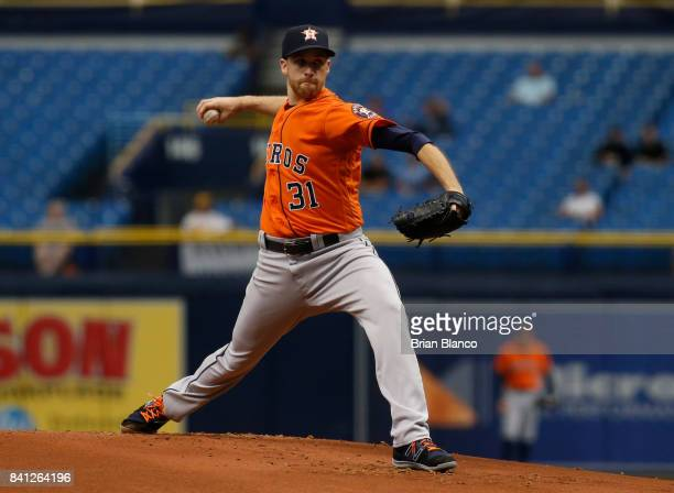 Pitcher Collin McHugh of the Houston Astros pitches during the first inning of a game against the Texas Rangers on August 31 2017 at Tropicana Field...