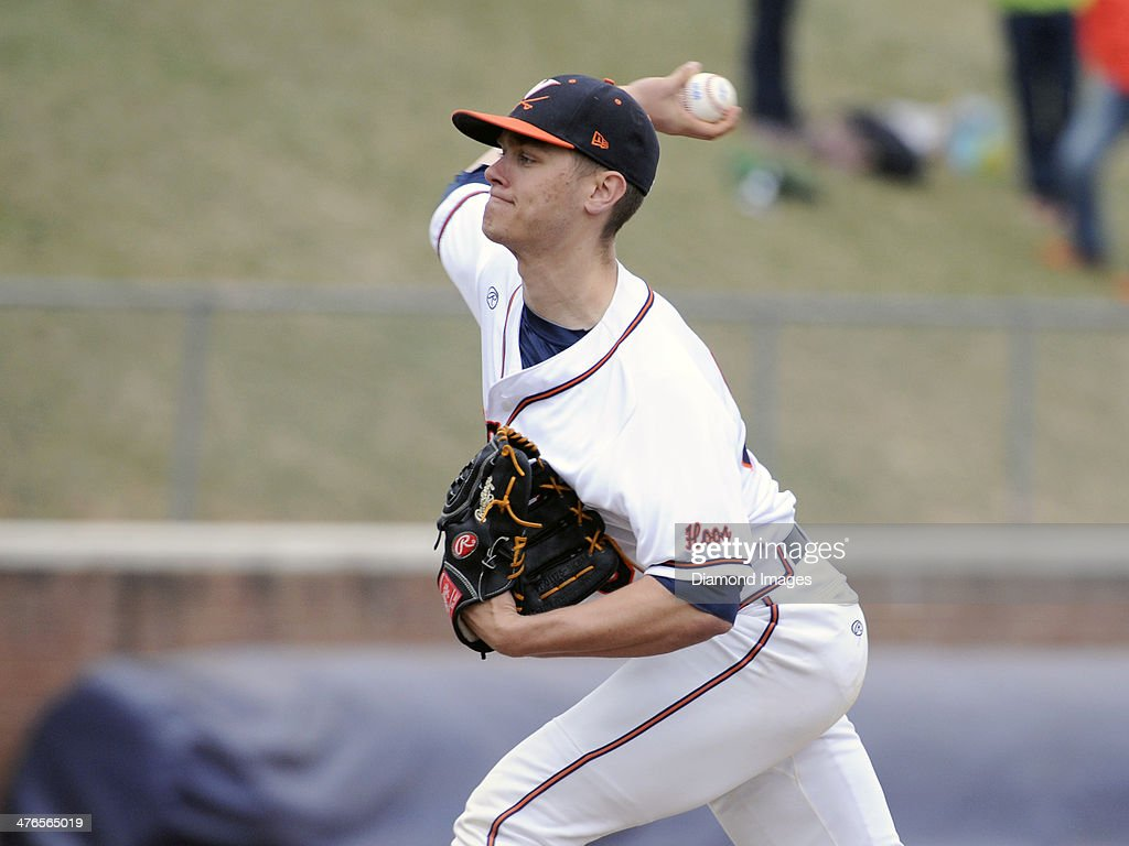 Pitcher Connor Jones #30 of the University of Virginia Cavaliers thropws a pitch during the top of the ninth inning of a game on March 1, 2014 against the Monmouth University Hawks at Davenport Field on the campus of the University of Virginia in Charlottesville, VA.