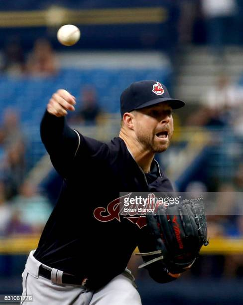 Pitcher Corey Kluber of the Cleveland Indians pitches during the first inning of a game against the Tampa Bay Rays on August 13 2017 at Tropicana...