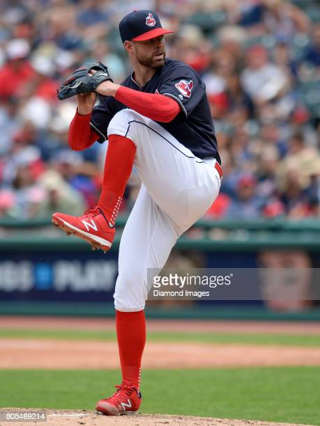 Pitcher Corey Kluber of the Cleveland Indians winds up to throw a pitch in the top of the fourth inning of a game on June 29 2017 against the Texas...