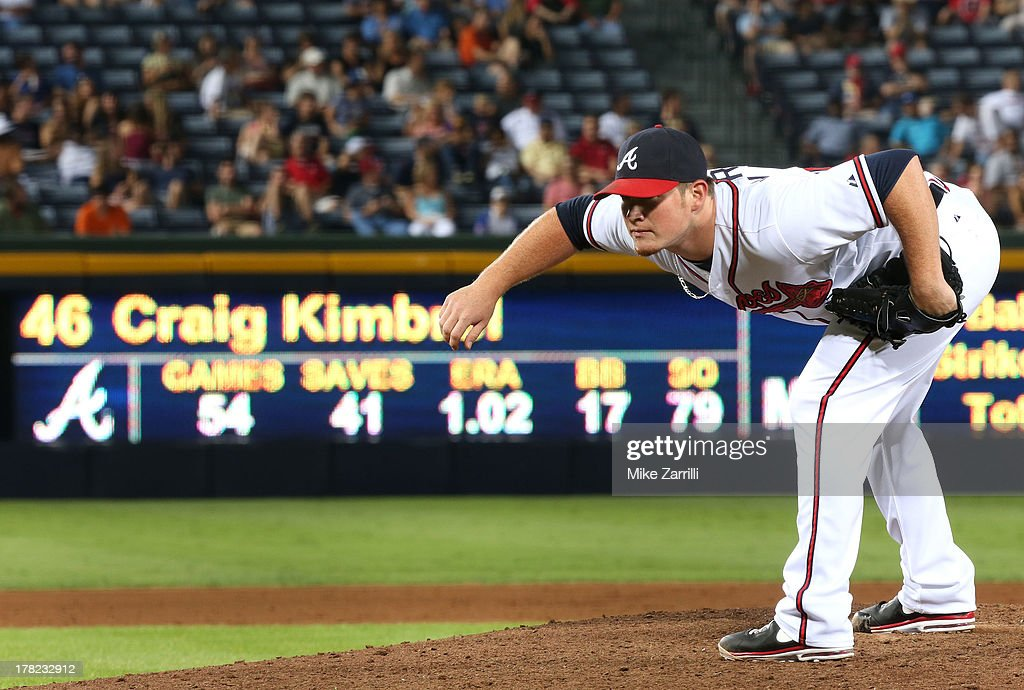 Pitcher <a gi-track='captionPersonalityLinkClicked' href=/galleries/search?phrase=Craig+Kimbrel&family=editorial&specificpeople=6795784 ng-click='$event.stopPropagation()'>Craig Kimbrel</a> #46 of the Atlanta Braves looks in for a sign during the game against the Cleveland Indians at Turner Field on August 27, 2013 in Atlanta, Georgia.