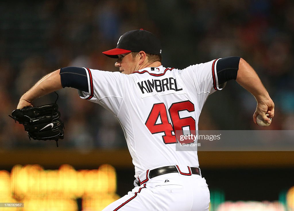 Pitcher <a gi-track='captionPersonalityLinkClicked' href=/galleries/search?phrase=Craig+Kimbrel&family=editorial&specificpeople=6795784 ng-click='$event.stopPropagation()'>Craig Kimbrel</a> #46 of the Atlanta Braves throws a pitch during the game against the Cleveland Indians at Turner Field on August 27, 2013 in Atlanta, Georgia.