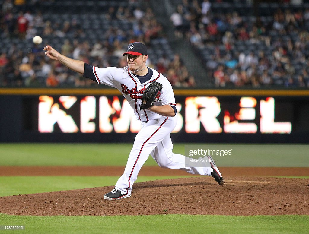 Pitcher <a gi-track='captionPersonalityLinkClicked' href=/galleries/search?phrase=Craig+Kimbrel&family=editorial&specificpeople=6795784 ng-click='$event.stopPropagation()'>Craig Kimbrel</a> #46 of the Atlanta Braves throws a warmup pitch during the game against the Cleveland Indians at Turner Field on August 27, 2013 in Atlanta, Georgia.