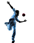pitcher Cricket player in silhouette shadow on white background