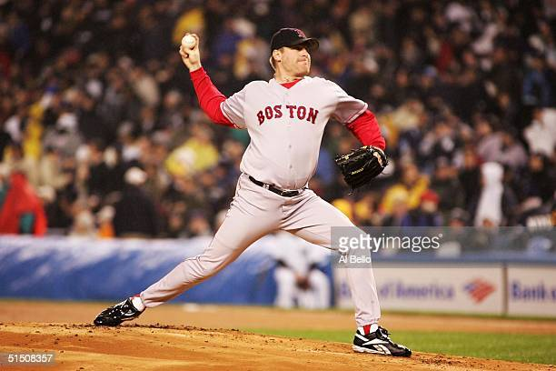 Pitcher Curt Schilling of the Boston Red Sox throws a pitch against the New York Yankees in the first inning during game six of the American League...