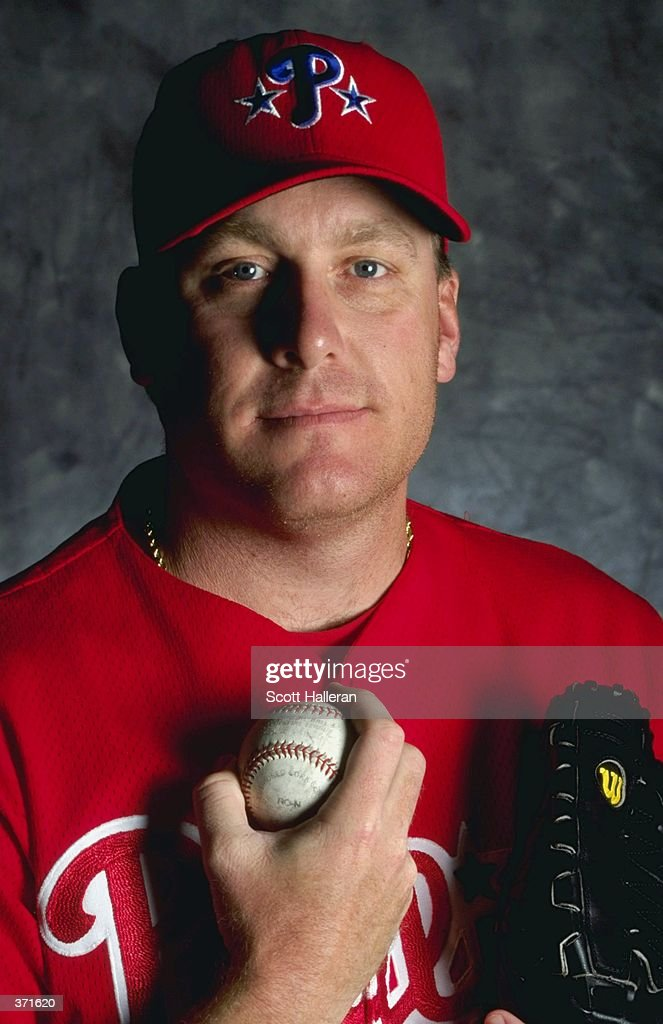 Pitcher Curt Schilling of the Philadelphia Phillies poses for a studio portrait on Photo Day during Spring Training at the Jack Russell Stadium in...