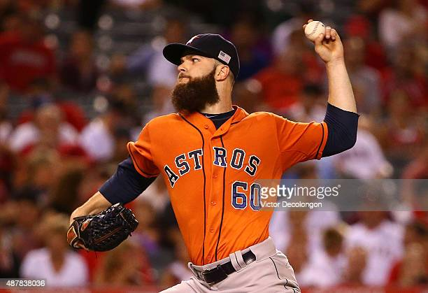 Pitcher Dallas Keuchel of the Houston Astros pitches in the second inning during the MLB game against the Los Angeles Angels of Anaheim at Angel...