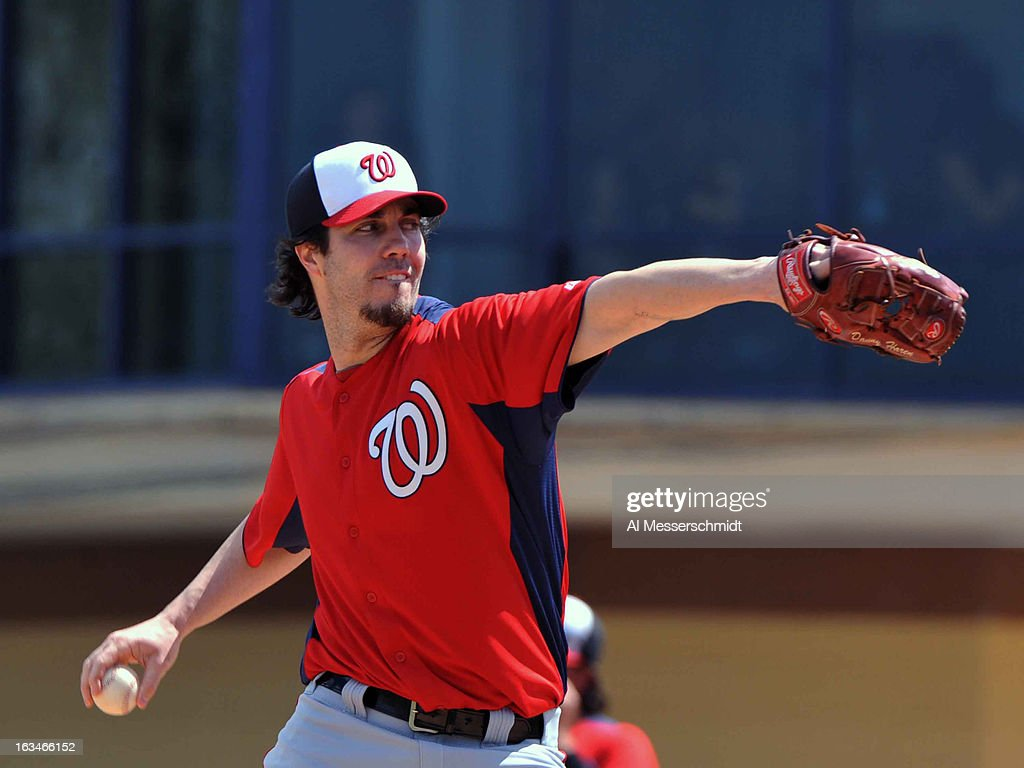 Pitcher <a gi-track='captionPersonalityLinkClicked' href=/galleries/search?phrase=Dan+Haren&family=editorial&specificpeople=228587 ng-click='$event.stopPropagation()'>Dan Haren</a> #15 of the Washington Nationals starts against the Detroit Tigers March 10, 2013 at Joker Marchant Stadium in Lakeland, Florida.