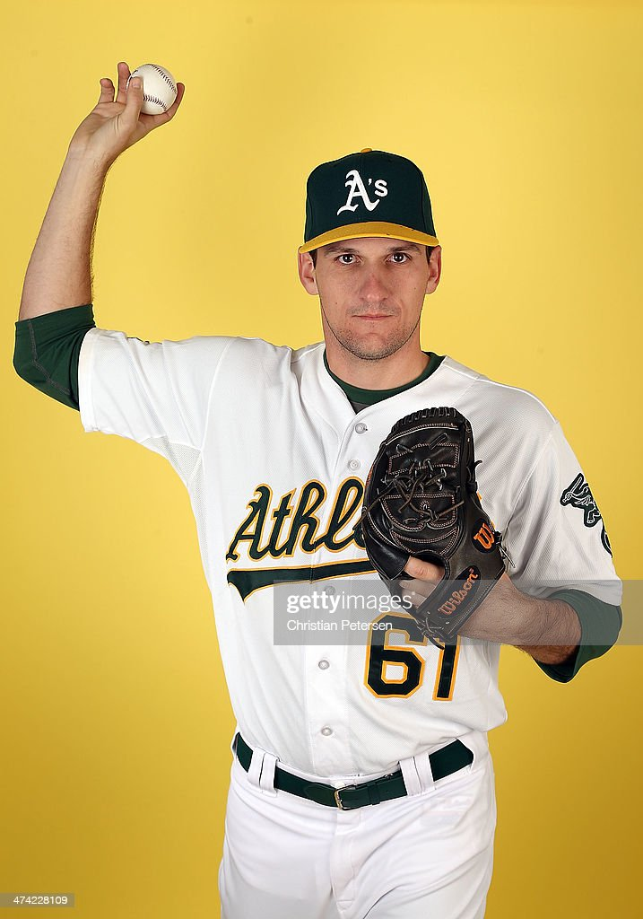 Pitcher Dan Otero #61 of the Oakland Athletics poses for a portrait during the spring training photo day at Phoenix Municipal Stadium on February 22, 2014 in Phoenix, Arizona.