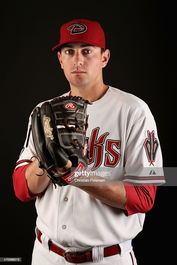 Pitcher <a gi-track='captionPersonalityLinkClicked' href=/galleries/search?phrase=Daniel+Hudson&family=editorial&specificpeople=6243440 ng-click='$event.stopPropagation()'>Daniel Hudson</a> #41 of the Arizona Diamondbacks poses for a portrait during spring training photo day at Salt River Fields at Talking Stick on February 19, 2014 in Scottsdale, Arizona.
