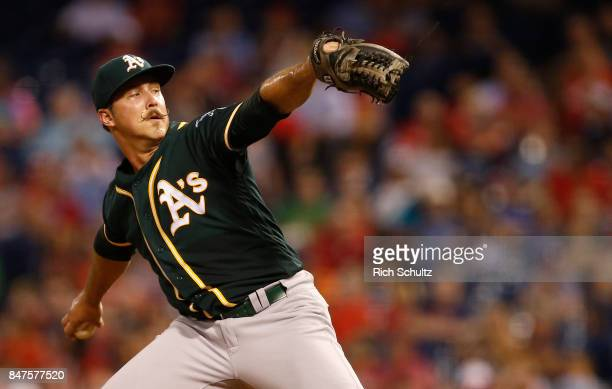 Pitcher Daniel Mengden of the Oakland Athletics delivers a pitch against the Philadelphia Phillies during the second inning of a game at Citizens...