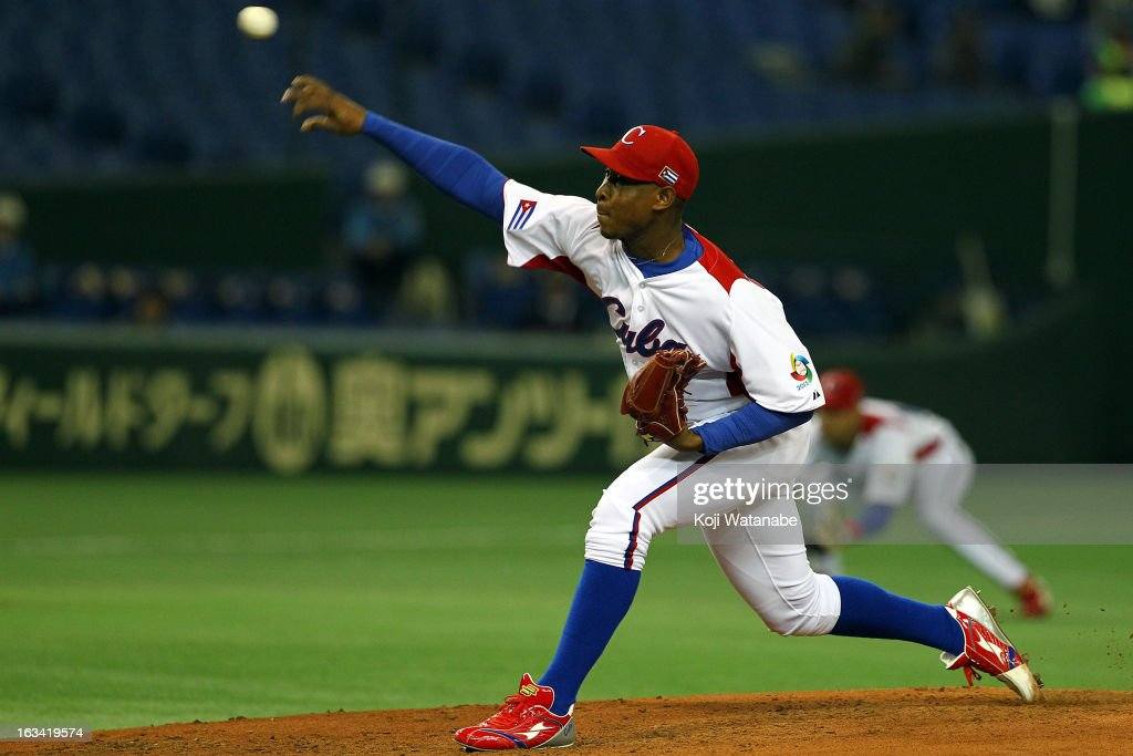 Pitcher Danny Betancourt #55 of Cuba pitches during the World Baseball Classic Second Round Pool 1 game between Chinese Taipei and Cuba at Tokyo Dome on March 9, 2013 in Tokyo, Japan.