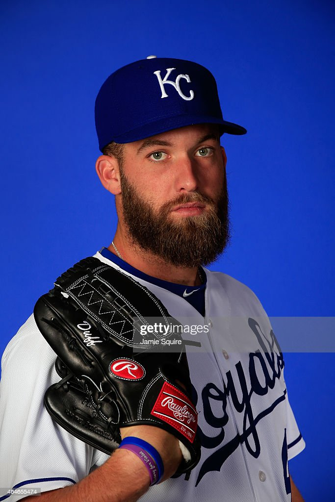 Pitcher <a gi-track='captionPersonalityLinkClicked' href=/galleries/search?phrase=Danny+Duffy&family=editorial&specificpeople=5971971 ng-click='$event.stopPropagation()'>Danny Duffy</a> #41 poses during Kansas City Royals Photo Day on February 27, 2015 in Surprise, Arizona.
