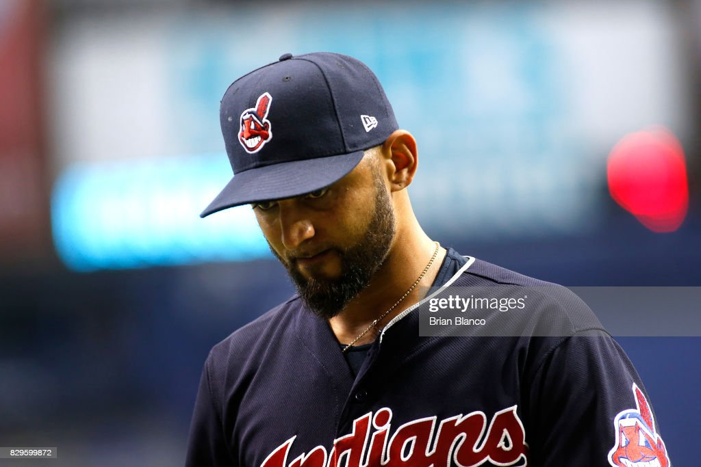 Pitcher Danny Salazar #31 of the Cleveland Indians makes his way to the dugout after being taken off the mound by manager Terry Francona during the sixth inning of a game against the Tampa Bay Rays on August 10, 2017 at Tropicana Field in St. Petersburg, Florida.