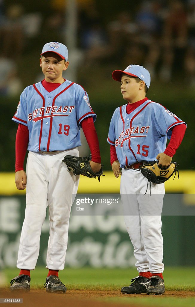 Pitcher Dante Bichette, Jr. #19 and Mike Tomlinson #15 of the Southeast look dejected against the West during the United States Semifinal of the Little League World Series on August 24, 2005 at Lamade Stadium in South Williamsport, Pennsylvania. The West team from Vista, California defeated the Southeast team from Maitland, Florida 6-2. (Photo by Elsa/Getty Images).