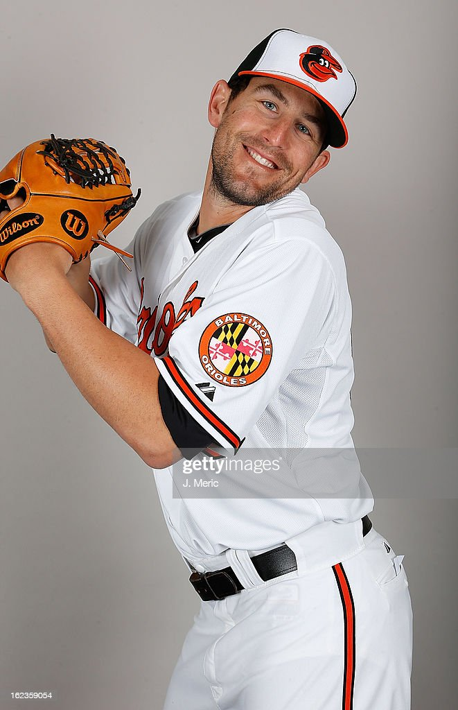 Pitcher Darren O'Day of the Baltimore Orioles poses for a photo during photo day at Ed Smith Stadium on February 22 2013 in Sarasota Florida
