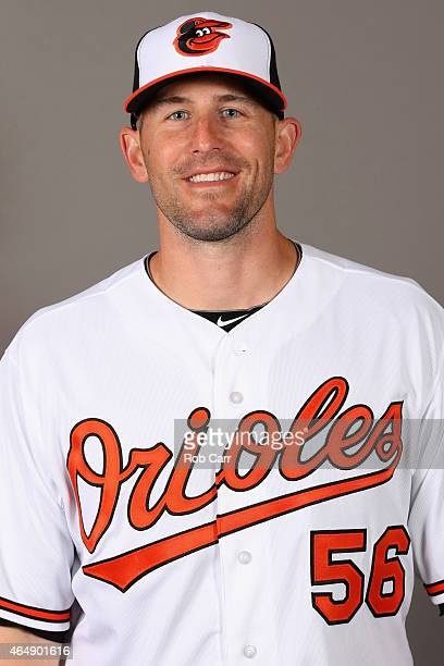 Pitcher Darren O'Day of the Baltimore Orioles poses on photo day at Ed Smith Stadium on March 1 2015 in Sarasota Florida