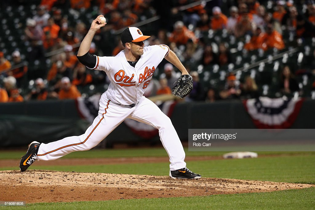 Pitcher Darren O'Day of the Baltimore Orioles throws to a Minnesota Twins batter in the eighth inning at Oriole Park at Camden Yards on April 4 2016...