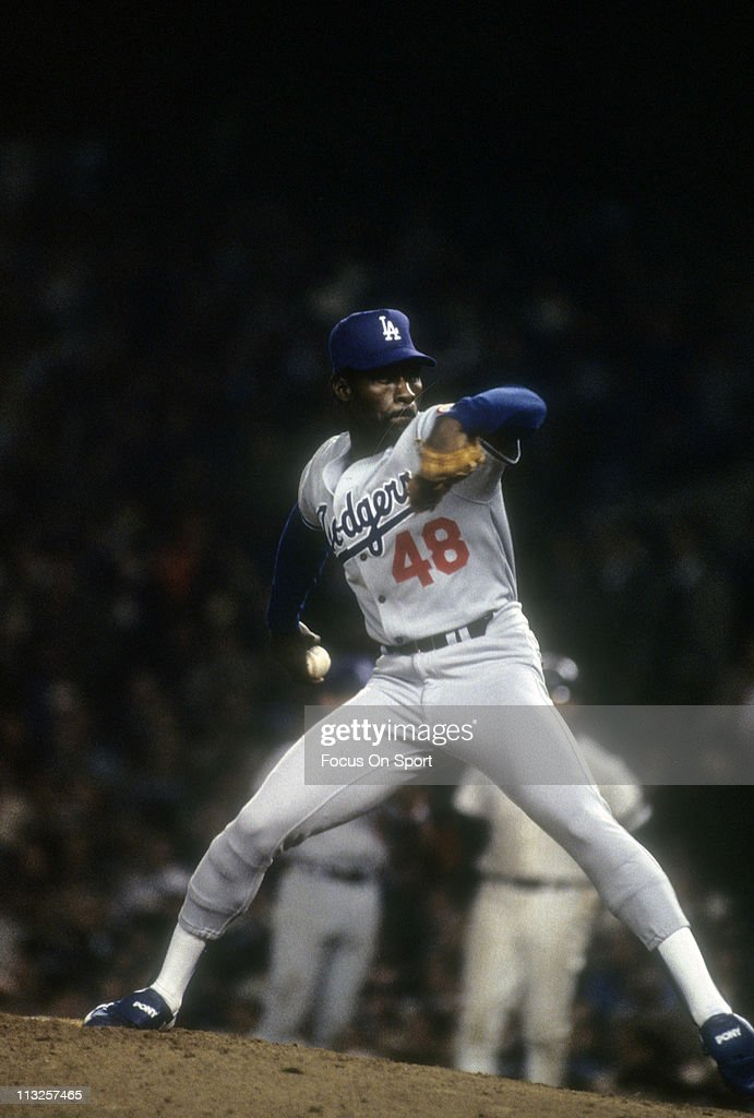 Pitcher Dave Stewart of the Los Angeles Dodgers pitches against the New York Yankees in the World Series October 1981 at Yankee Stadium in the Bronx...