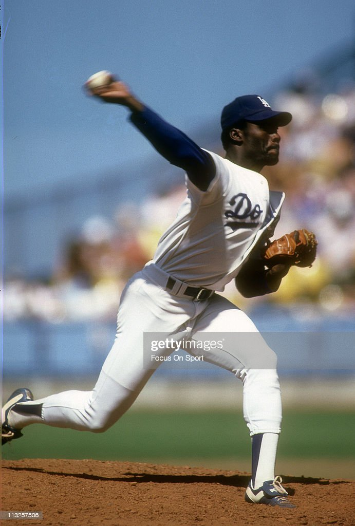 Pitcher Dave Stewart of the Los Angeles Dodgers pitches during a Major League Baseball game circa 1982 at Dodger Stadium in Los Angeles California...