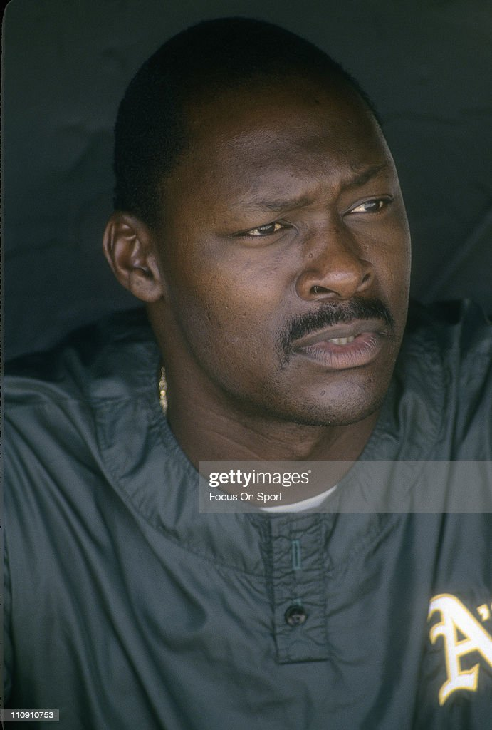 Pitcher Dave Stewart of the Oakland Athletics looks on from the dougout before a Major League Baseball game circa 1991 at the OaklandAlameda Coliseum...