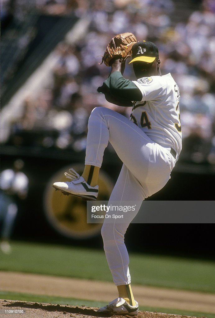 Pitcher Dave Stewart of the Oakland Athletics pitches during a Major League Baseball game circa 1990 at the OaklandAlameda Coliseum in Oakland...