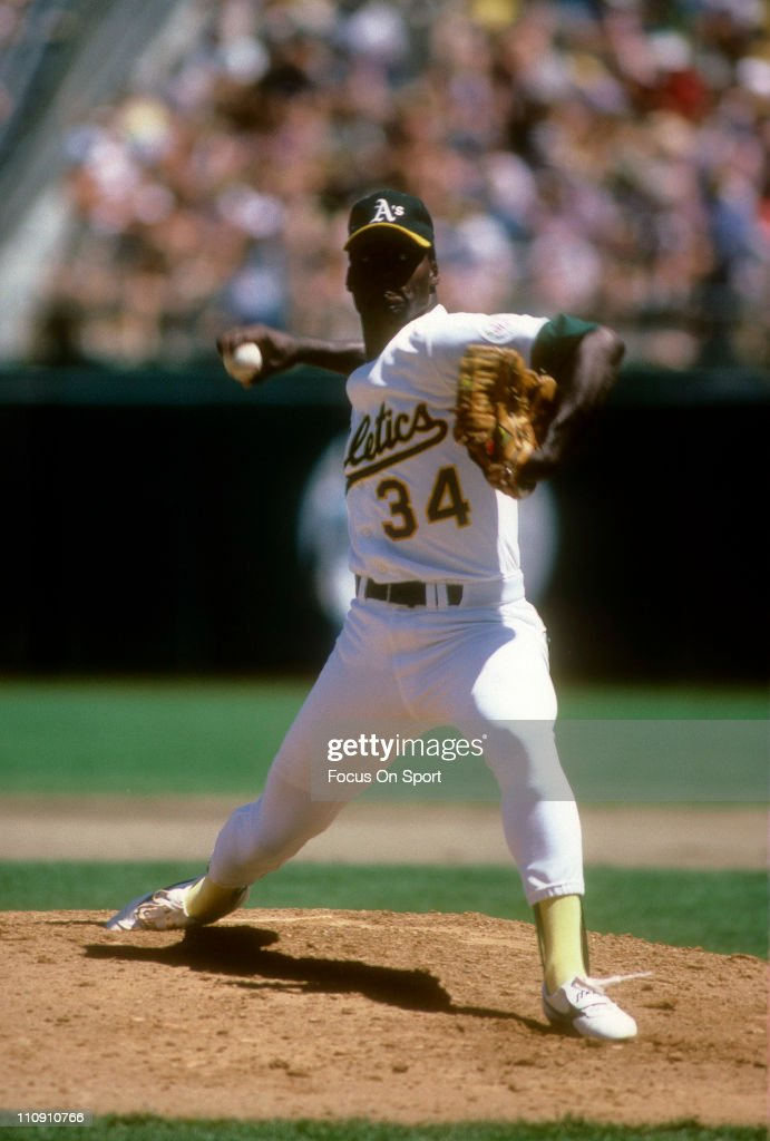 Pitcher Dave Stewart of the Oakland Athletics pitches during a Major League Baseball game circa 1991 at the OaklandAlameda Coliseum in Oakland...