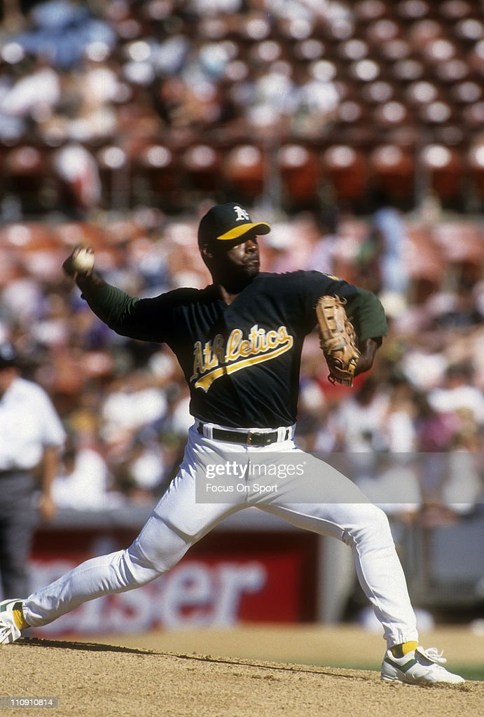 Pitcher Dave Stewart of the Oakland Athletics pitches during a Major League Baseball game circa 1995 at the OaklandAlameda Coliseum in Oakland...