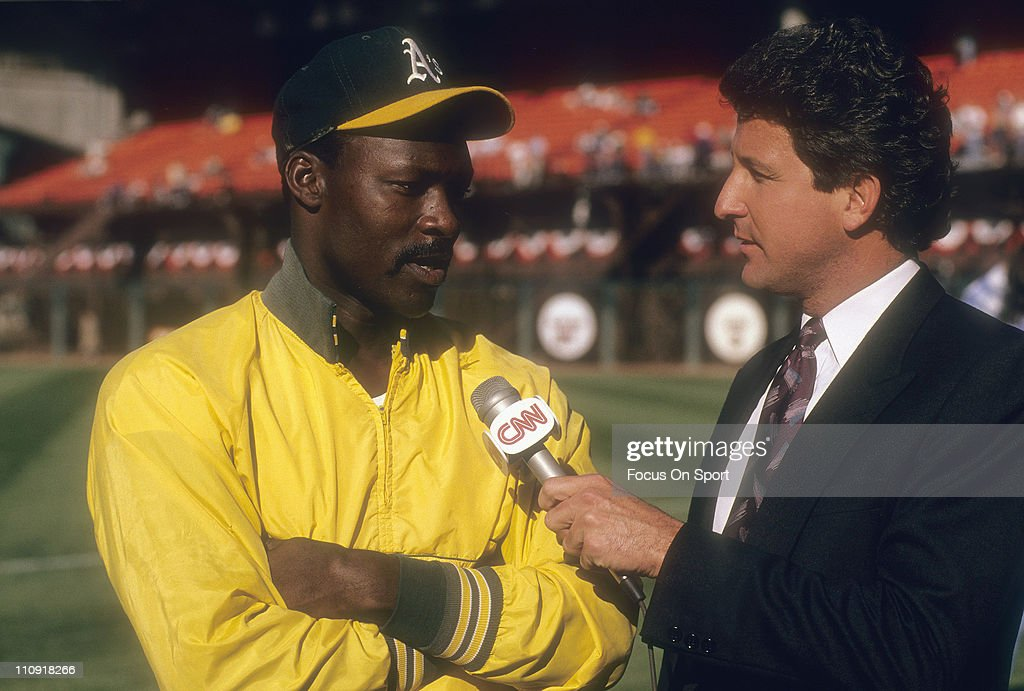 Pitcher Dave Stewart of the Oakland Athletics talks with the media before the start of game four against the San Francisco Giants in the 1989 World...
