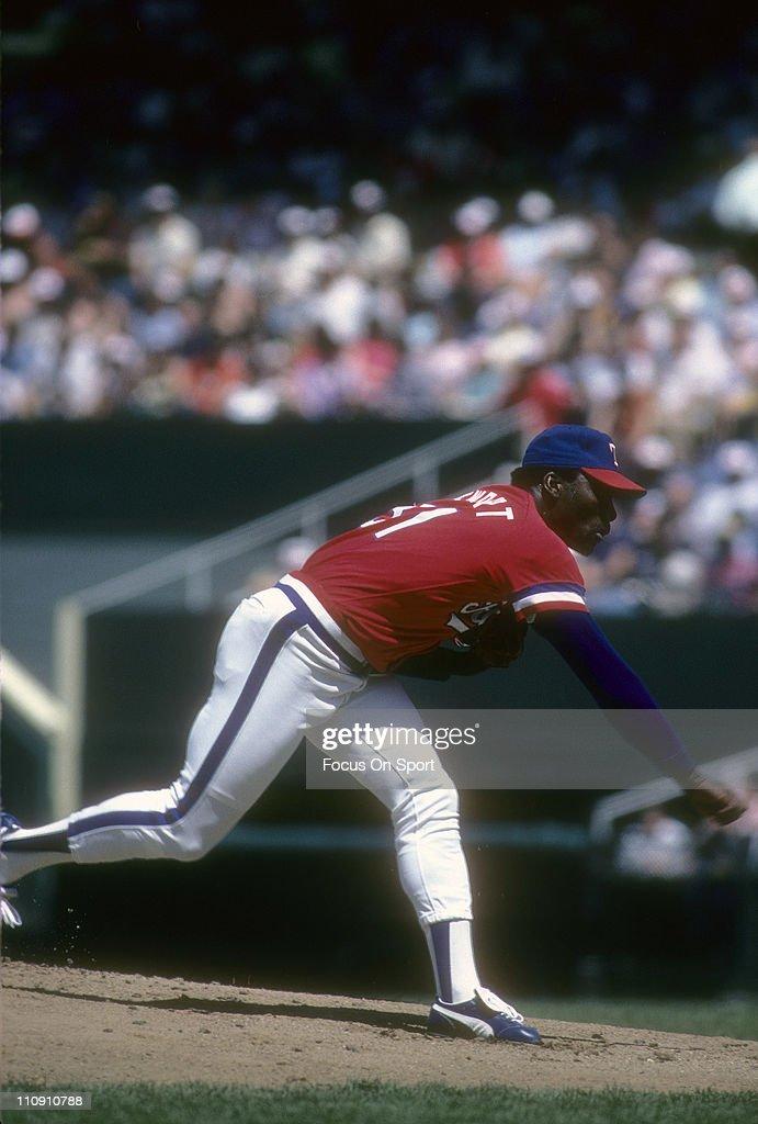 Pitcher Dave Stewart of the Texas Rangers pitches during a Major League Baseball game circa 1984 at Arlington Stadium in Arlington Texas Stewart...