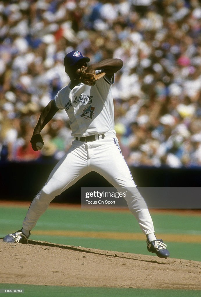 Pitcher Dave Stewart of the Toronto Blue Jays pitches during a Major League Baseball game circa 1993 at the Sky Dome in Toronto Ontario Canada...