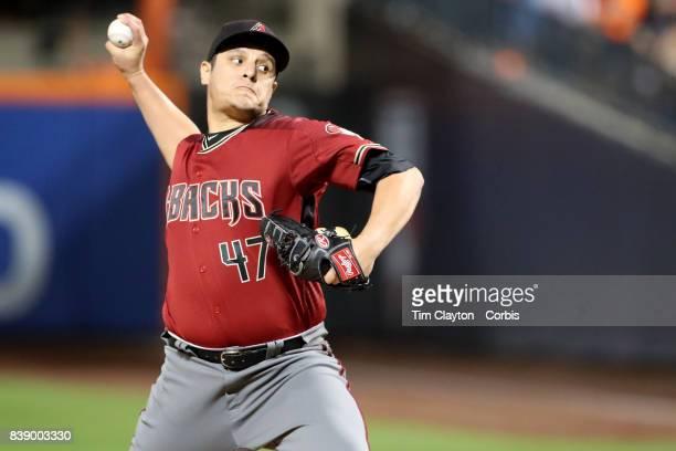 Pitcher David Hernandez of the Arizona Diamondbacks pitching during the Arizona Diamondbacks Vs New York Mets regular season MLB game at Citi Field...