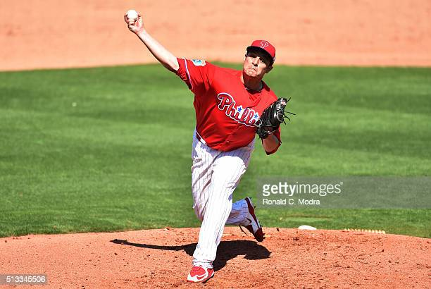 Pitcher David Hernandez of the Philadelphia Phillies pitches during a spring training game against the Toronto Blue Jays at Bright House Field on...