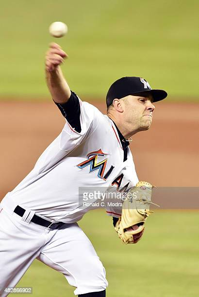Pitcher David Phelps of the Miami Marlins pitches during a MLB game against the San Diego Padres at Marlins Park on July 31 2015 in Miami Florida