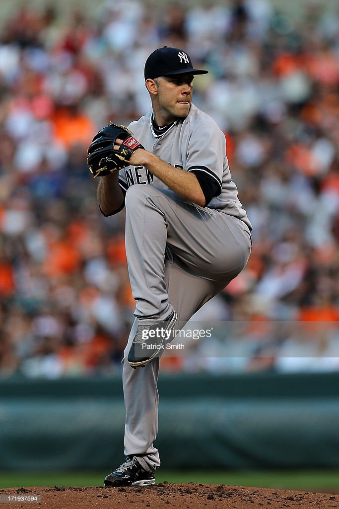 Pitcher David Phelps #41 of the New York Yankees works the first inning against the Baltimore Orioles at Oriole Park at Camden Yards on June 29, 2013 in Baltimore, Maryland.