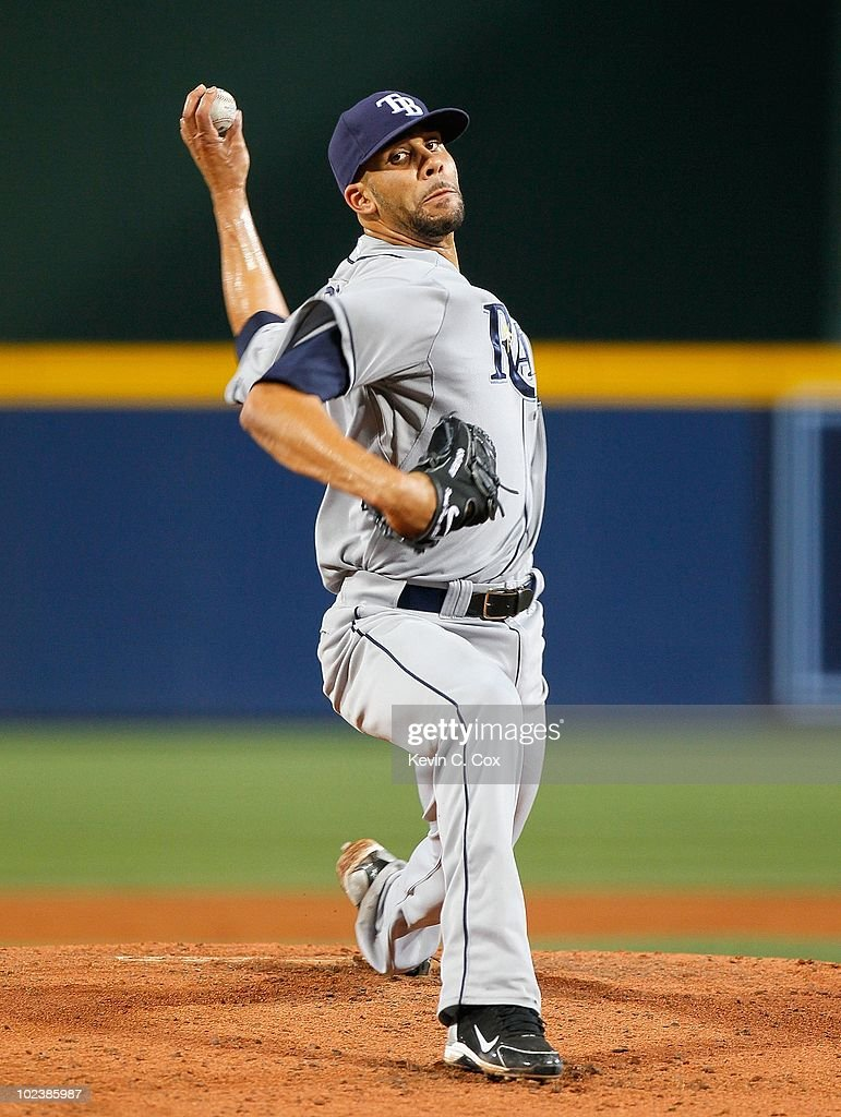 Pitcher <a gi-track='captionPersonalityLinkClicked' href=/galleries/search?phrase=David+Price+-+Baseball+Player&family=editorial&specificpeople=4961936 ng-click='$event.stopPropagation()'>David Price</a> #14 of the Tampa Bay Rays against the Atlanta Braves at Turner Field on June 15, 2010 in Atlanta, Georgia.