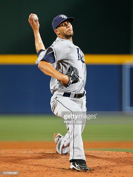 Pitcher David Price of the Tampa Bay Rays against the Atlanta Braves at Turner Field on June 15 2010 in Atlanta Georgia